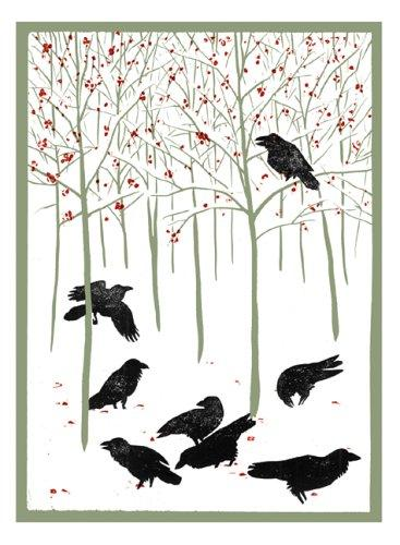 Ravens in Winter Notecards (Woodcut Christmas Cards) by Rick Allen