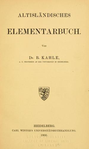 Altisländisches Elementarbuch