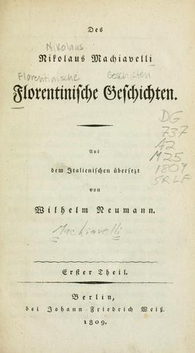 Download Florentinische Geschichten des Nikolaus Machiavelli