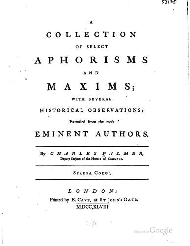 A collection of select aphorisms and maxims