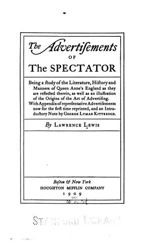 The advertisements of the Spectator