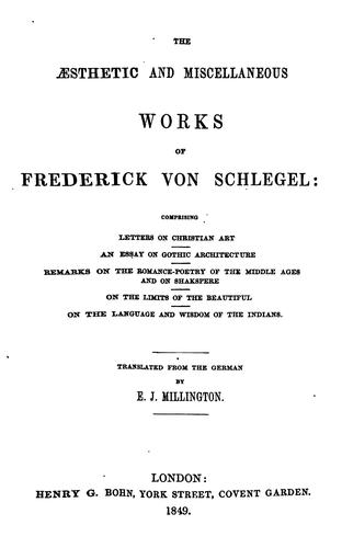 Download The aesthetic and miscellaneous works of Frederick von Schlegel …