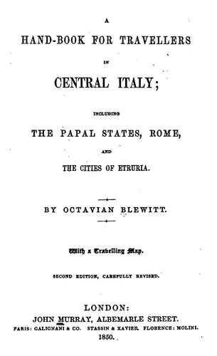 A hand-book for travellers in central Italy by Murray, John