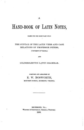 A hand-book of Latin notes