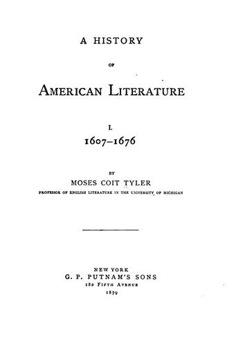 A history of American literature.