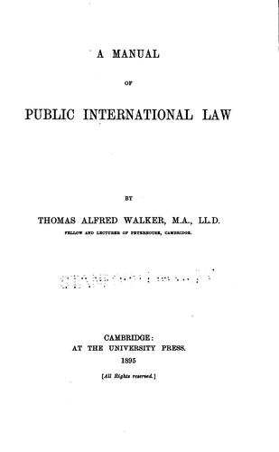 Download A manual of public international law