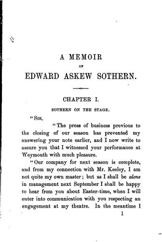 Download A memoir of Edward Askew Sothern.