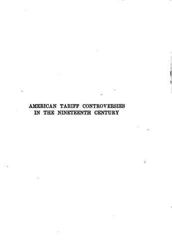 American tariff controversies in the nineteenth century