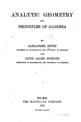 Download Analytic geometry and principles of algebra