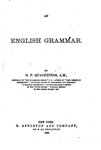 Download An English grammar.
