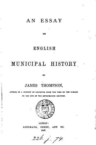 Download An essay on English municipal history.