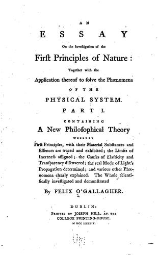 An essay on the investigation of the first principles of nature