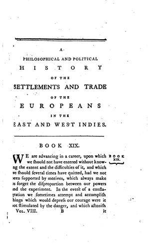 Download A philosophical and political history of the settlements and trade of the Europeans in the East and West Indies
