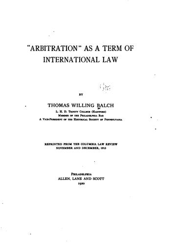 """""""Arbitration"""" as a term of international law"""