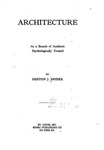 Download Architecture as a branch of aesthetic, psychologically treated