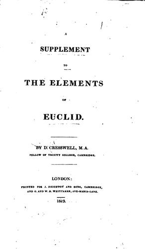 Download A supplement to the Elements of Euclid.