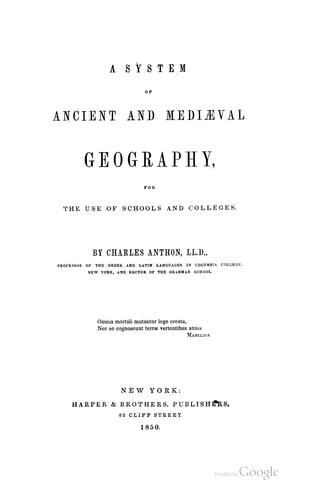 Download A system of ancient and mediæval geography for the use of schools and colleges