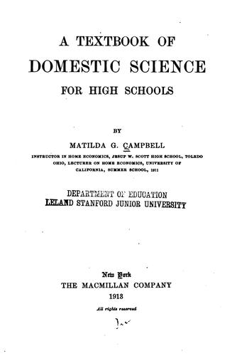 Download A textbook of domestic science for high schools