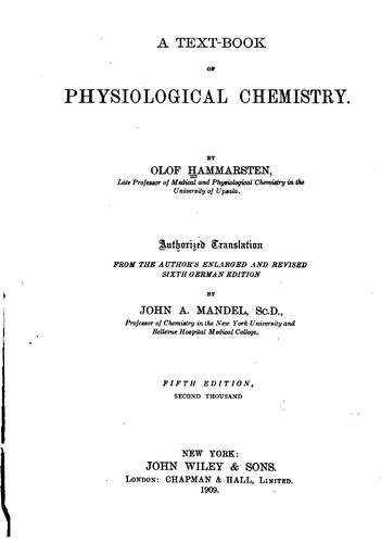 Download A text-book of physiological chemistry.