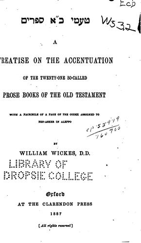 Download A treatise on the accentuation of the twenty-one so-called prose books of the Old Testament