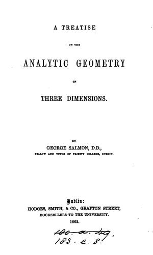 Download A treatise on the analytic geometry of three dimensions.