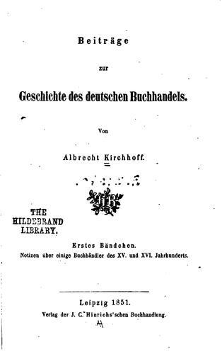Download Beiträge zur geschichte des deutschen buchhandels.