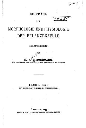 Download Beiträge zur morphologie und physiologie der pflanzenzelle