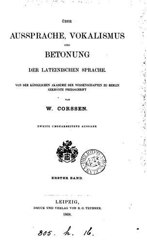 Download Über Aussprache, Vokalismus und Betonung der lateinischen Sprache.