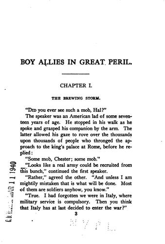 Download The boy allies in great peril, or, With the Italian Army in the Alps