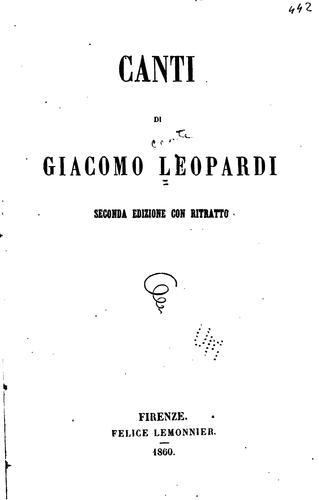 Canti di Giacomo Leopardi.