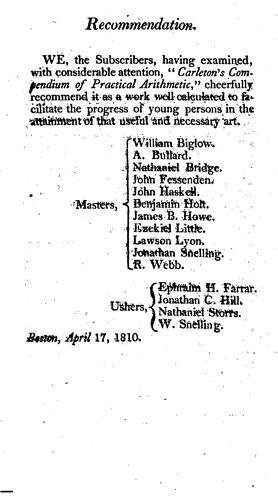 Download Carleton's compendium of practical arithmetic.