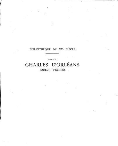 Charles d'Orléans, joueur d'échecs