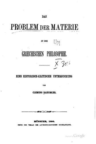 Download Das problem der materie in der griechischen philosophie.