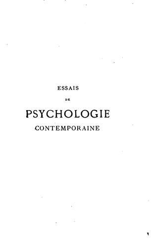 Essais de psychologie contemporaine …