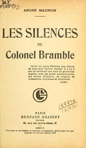 Les silences du colonel Bramble …