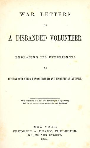 Download War letters of a disbanded volunteer.