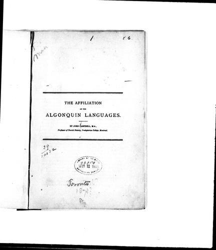 The affiliation of the Algonquin languages