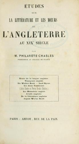 Études sur la littérature et les moeurs de l'Angleterre au 19e siècle.