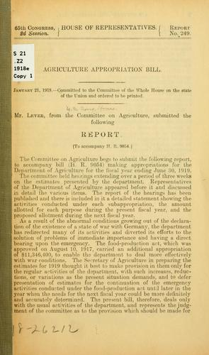 Download Agriculture appropriation bill …