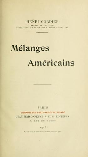 Download Mélanges américains.