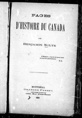 Pages d'histoire du Canada