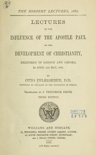 Lectures on the influence of the Apostle Paul on the development of Christianity.