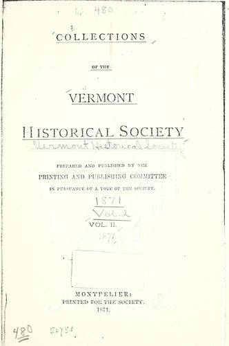 Collections of the Vermont historical society