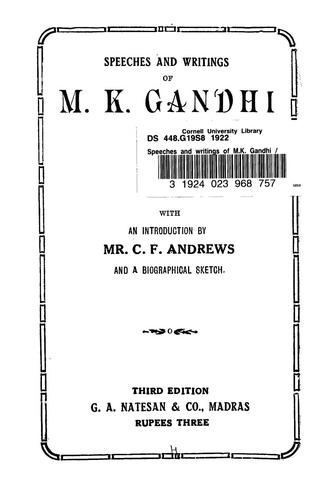 Download Speeches and writings of M.K. Gandhi