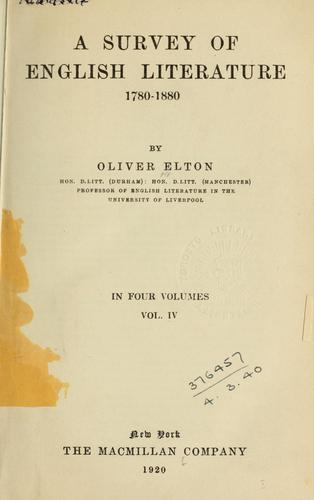 A survey of English literature 1780-1880