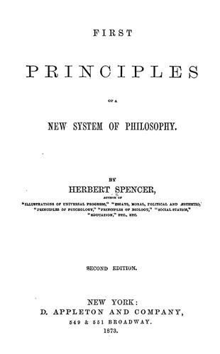 First principles of a new system of philosophy