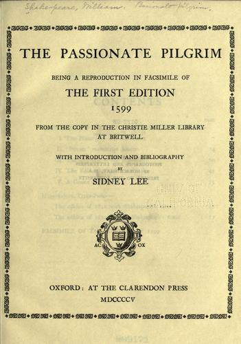 The passionate pilgrim by William Shakespeare