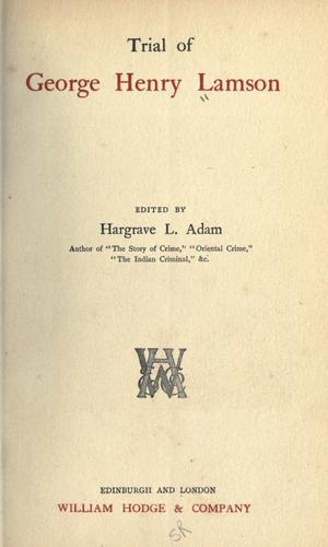 Trial of George Henry Lamson
