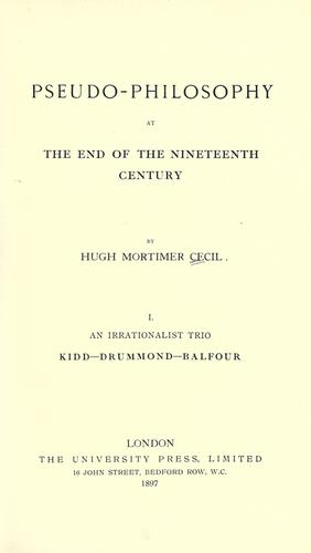 Download Pseudo-philosophy at the end of the nineteenth century.