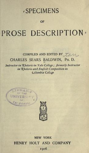 Specimens of prose description